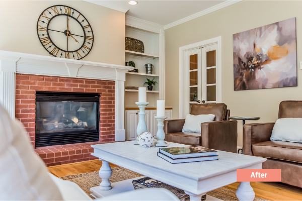 Best Occupied Home Staging in Atlanta | Polished peach occupied staging